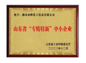 """潍坊亚峰仪表荣获山东省""""专精特新""""中小企业称号"""